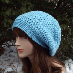 Sky Blue Slouch Beanie  Womens Slouchy by ColorMyWorldCrochet