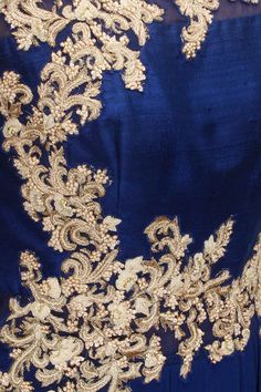 Royal blue embroidered anarkali set available only at Pernia's Pop-Up Shop.
