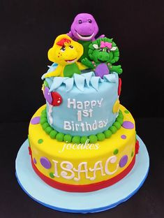 Barney and friends cake for Alexia Yong 1st birthday.