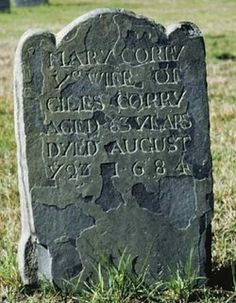 Salem Witch Trials Victims' Names, Mary Corey - - Find A Grave Memorial. Cemetery Headstones, Old Cemeteries, Graveyards, Cemetery Art, Salem Witch Trials Victims, Salem Mass, Witch History, Famous Graves, Spiritus