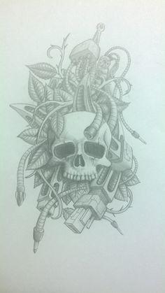 skull Skull, Tattoos, Art, Tatuajes, Tattoo, Japanese Tattoos, Kunst, Tattoo Illustration, Skulls
