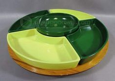 shopgoodwill.com: Vintage Wood/Glass Lazy Susan, Green/Chartreuse