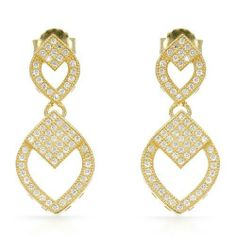 Gold Plated Silver 2.4 CTW Cubic Zirconia Ladies Earrings. Length 27 mm. Total Item weight 3.8 g. VividGemz. $74.00. Save 84% Off!