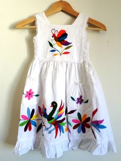Adorable Otomi GIRLS dress embroidered by indigenous by ArteOtomi, $39.99