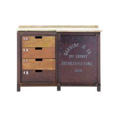 Aparador industrial de metal efecto óxido An. 120 cm