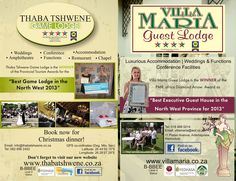 """Africa Diamond Arrow Award - """"Best Executive Guest House in the North West Province for 2013 - Villa Maria Guest Lodge. North West Province, Conference Facilities, Game Lodge, Wedding Function, Arrow, Tourism, Awards, Villa, Africa"""