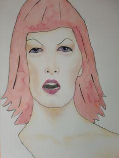 Portrait Britt, 50x70cm aquarel/watercolor by Tanja Kooymans