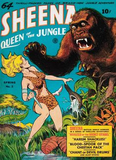 Sheena, Queen of the Jungle #3 (1943) - Cover by Dan Zolnerowich