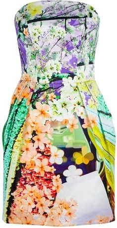 MARY KATRANTZOU. Multicoloured jacquard silk bustier dress featuring a floral print, a bustier reinforced with boning, pleating on the skirt and a zip fastening at the back.