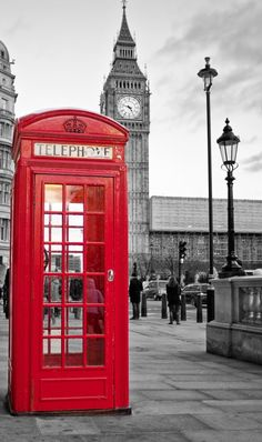 Red phone booth in London with the Big Ben in black and white Wall Mural . Red phone booth i Big Ben London, London England, The Places Youll Go, Cool Places To Visit, Black And White Background, Thinking Day, Great Vacations, Red Walls, Red Aesthetic