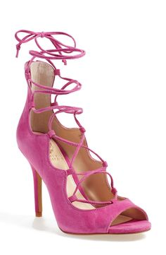 Falling fast for these peep toe sandals from Vince Camuto! Buttery soft suede pairs with sweeping ghillie laces for a fun going-out style.