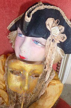 "Antique French Boudoir Doll Paris 1920 RARE ""Casanova"" Doll Hat Mask | eBay"
