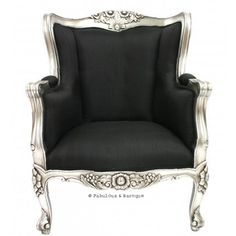 Aveline French Wing Back Chair - Silver Leaf French Ornate Modern Baroque & Rococo Furniture www.fabulousandbaroque.com