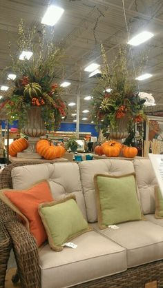 Large fall urns by kell Halloween Front Door Decorations, Church Decorations, Floral Decorations, Fall Home Decor, Autumn Home, Holiday Decor, Outdoor Christmas Planters, Fall Deco Mesh, Fall Containers