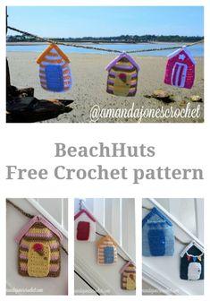 A pretty crochet beach hut Pattern to make a seaside themed garland for your beautiful home. Nautical Crochet, Beach Crochet, Nautical Pattern, Crochet Box, Crochet Triangle, Quick Crochet, Crochet Motif, Free Crochet, Crochet Ideas