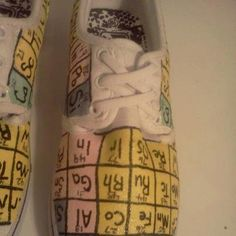 Items similar to Periodic Table Shoes on Etsy Chemistry Gifts, Painted Canvas Shoes, Periodic Table, Geek Stuff, College, Shades, Teaching, My Style, How To Make