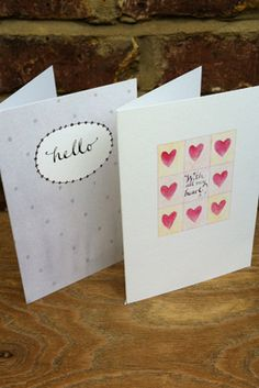 Hello and With All My Heart greetings cards