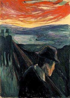 Edvard Munch (ˈɛdvɑʁd ˈmʉŋk) (12 décembre 1863 - 23 janvier 1944) est un peintre expressionniste norvégien. «Désespoir», huile sur toile.