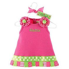 #birthday time! Mud Pie Personalized Hot Pink Little Sprout Tab Dressfrom: mybabyclothes.com