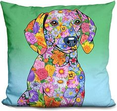 Tomoyo Pitcher Flowers Dachshund Throw Pillow