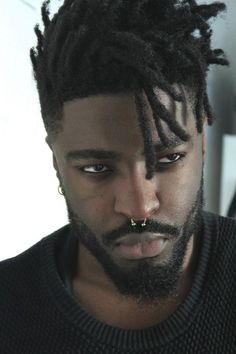 Man's afro haircut with locs Black Men Hairstyles, Haircuts For Men, Men's Hairstyles, Black Hairstyle, Harry Samba, Pretty People, Beautiful People, Spiderbite Piercings, Hair Reference