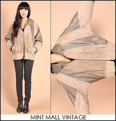 vtg 80s taupe CHEVRON leather & suede BATWING avant garde draped jacket coat