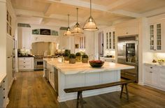 I want this kitchen.  I LOVE the marble.  Would probably change the bench.