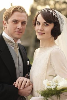 Mary and Matthew pose in their wedding best. | Till Downton Do Us Part: Matthew and Mary's Wedding Album | POPSUGAR Love & Sex