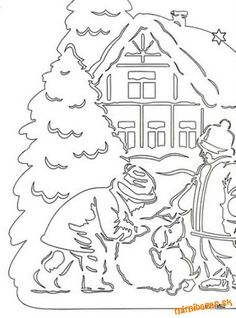 Vianočné vystrihovačky 2 Christmas Frames, Christmas Pictures, Christmas Colors, Christmas Decorations, Kirigami, Pattern Coloring Pages, Coloring Book Pages, Paper Cutting Patterns, Paper Art