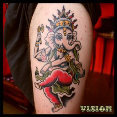 Ganesha tattoo old school traditional By Vision Renato Ganesha Tattoo, Don't Judge, Traditional Tattoo, Old School, Tatting, Ink, Pattern Tattoos, Tattoo Traditional, Lace Making