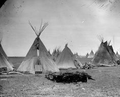 Dakota Chief Gall's camp at Fort Buford, Dakota Territory; twenty  tepees grouped together, 1881