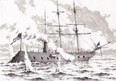 08.03.1862, CSS Virginia vs USS Cumberland   My artwork, 2017.