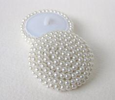 Vintage pulsante bianco perla seme perline Abiti da sposa cucito Shank 35mm but0193 (2)