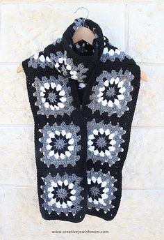 Crocheted Granny Square Scarf