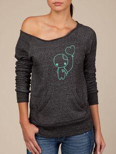Cute ZOMBIE Oversized Sweater - Organic Eco Vegan Happy Shirt - ReLove Plan.et - M or L. $65.00, via Etsy.