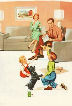 Love My Family, Family Life, Happy Family, Vintage Housewife, Creative Illustration, Family Activities, Vintage Cards, American Art, Nostalgia