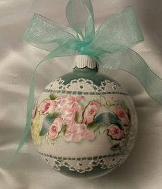Hand Painted Christmas Ornament Cottage Chic Pink Roses Hydrangeas Lace HP Glass