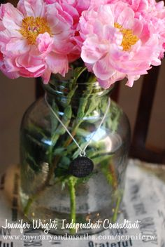 These giant peonies look amazing on my kitchen table in our Medium Lantern. They're so large, they dwarfed any regular vase but this size is just perfect for them. I love how versatile and substantial this piece is.  Add our jute table runner for added elegance.  #peonies #pretty #pink #maryandmartha #vase #flowers #garden #spring #homedecor #lovely #giftidea #weddingpresent