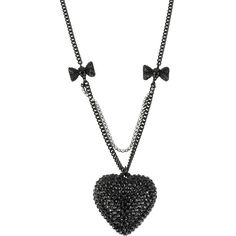 BETSEY JOHNSON Heart Pendant Necklace with Bow Detailing ($48) ❤ liked on Polyvore