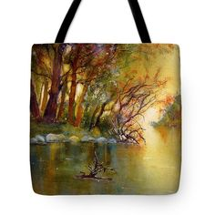 Autumn Landscape Tote Bag featuring the painting River Rhine in Autumn by Sabina Von Arx Autumn Forest, Warm Autumn, Fall, Painted Bags, Hand Painted, Beach Towel Bag, Yellow Bathroom Decor, Autumn Lights, Thing 1