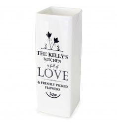 Full of Love White Square Vase | Ceramic Vases | Exclusively Personal