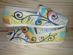 Art Deco hand painted TOMS by MyHeartToYourSole on Etsy, $105.00