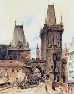 Rudolf Ritter von Alt Rudolf von Alt – Bridge Tower on the Lesser Town in Prague – 1843 – Rudolf Ritter von Alt – Wikimedia Medieval Houses, Medieval Life, Medieval Fantasy, Great Paintings, Old Paintings, Prague, Rudolf Von Alt, Sacred Architecture, Environment Concept Art