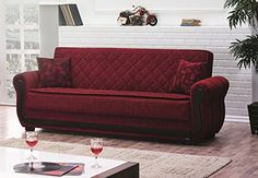 Empire Furniture USA Park Avenue Collection Traditional Large Folding Sofa Sleeper Bed with Storage Space and Includes 2 Pillows Red Quilt Design
