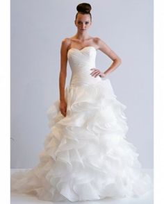 Wedding Dresses for Fall 2013 by Dennis Basso Dress with Sweetheart neckline bodice and draped chiffon skirt