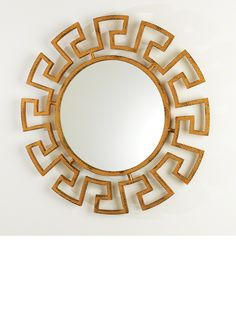 Gold Greek Key Mirror For Luxury Homes, Beautiful Interior Design, Living Room, Bedroom, Dining Room, Bathroom Ideas. Over 3,500 Luxury Furniture, Lighting, Mirrors, Home Accents & Decor Inspirations to enjoy, share and inspire your friends and followers courtesy of  InStyle Decor Beverly Hills with our easy 1 Click Pinterest Pin Button enjoy & happy pinning