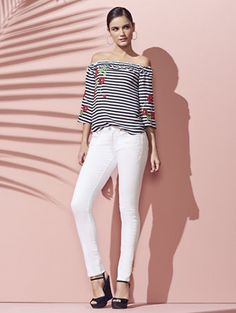 Shop Soho Jeans - Embroidered Skinny - White. Find your perfect size online at the best price at New York & Company.