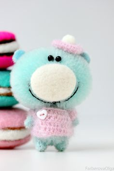 Mr.Macaron - Miniature Teddy Bear - 5.7 cm. Bear for sale - on-line stores on my site FarberovaOlga.com. Welcome!