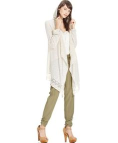 American Rag Lace Asymmetrical-Hem Hooded Waterfall Cardigan, Only at Macy's