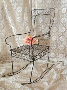 Wire Rocking Chair Miniature Wire Chair by TheCookieClutch on Etsy